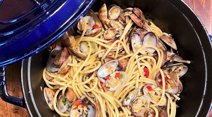 Les spaghettis aux palourdes de Laurent Renard