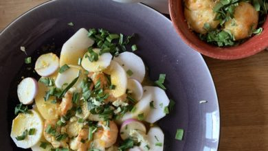 Confinés mais attablés #1- livraison : les paniers-recettes de Celine Pham pour Ruinart